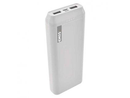 Emos Powerbank ALPHA 20000 mAh, USB-C/micro USB, 2A, bílá