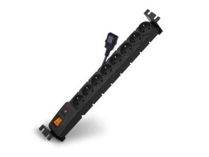 """ACAR 19"""" Rozvodný panel 8x230V 1,5U CZ 3m kabel IEC černý"""