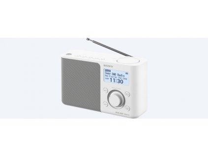 SONY XDR-S61DW Přenosné FM/DAB rádio, bílé, víceřádkový bíle podsvícený display. 5 paměťových tlačítek