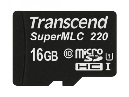 Transcend 16GB microSDHC220I UHS-I U1 (Class 10) SuperMLC průmyslová paměťová karta, 81MB/s R, 46MB/s W, černá