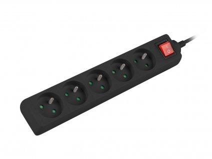 Prodlužovací kabel Lanberg PS1 5 zásuvky 1.5m vypínač černá