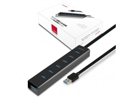 AXAGON HUE-SA7BP, 7x USB3.0 ALU CHARGING hub vč. AC adapteru