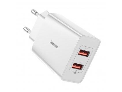 Baseus Speed Mini rychlo nabíjecí EU adptér 2* USB-A 18W, bílá