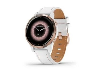 Garmin GPS sportovní hodinky Venu® 2S Rose Gold/White Leather Band