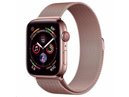 COTEetCI ocelový magnetický řemínek pro Apple Watch 38 / 40mm růžově-zlatý