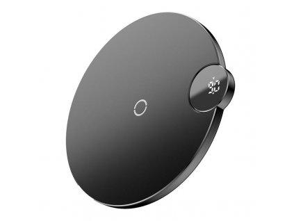 Baseus bezdrátová nabíječka s digitálním LED displejem černá