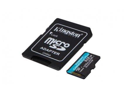 KINGSTON 512GB microSDXC Canvas Go! Plus 170R/100W U3 UHS-I V30 Card + SD Adapter