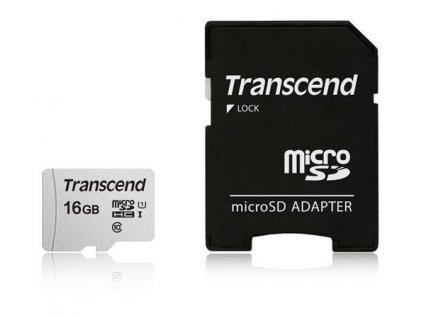 Transcend 16GB microSDHC 300S UHS-I U1 (Class 10) paměťová karta (s adaptérem)