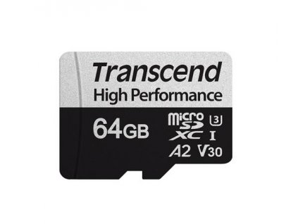 Transcend 64GB microSDXC 330S UHS-I U3 V30 A2 (Class 10) paměťová karta (bez adaptéru), 100MB/s R, 60MB/s W