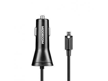 Modecom ROYAL MC-KULU-01 microUSB nabíječka do auta vč. kabelu + 1x USB-A port, 5V/3,5A, 17,5W, černá