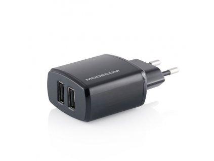 Modecom Royal MC-W5VU2-34 AC Adaptér pro tablety, Dual USB, 5VDC - 1xUSB 2.4A, 1xUSB 1A, 100-240V