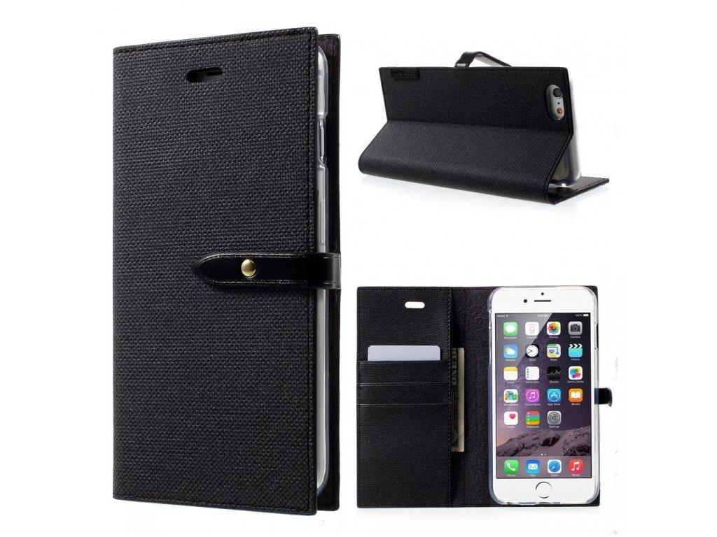 Pouzdro / kryt pro iPhone 6 / 6S - Mercury, Milano Diary BLACK/BLACK