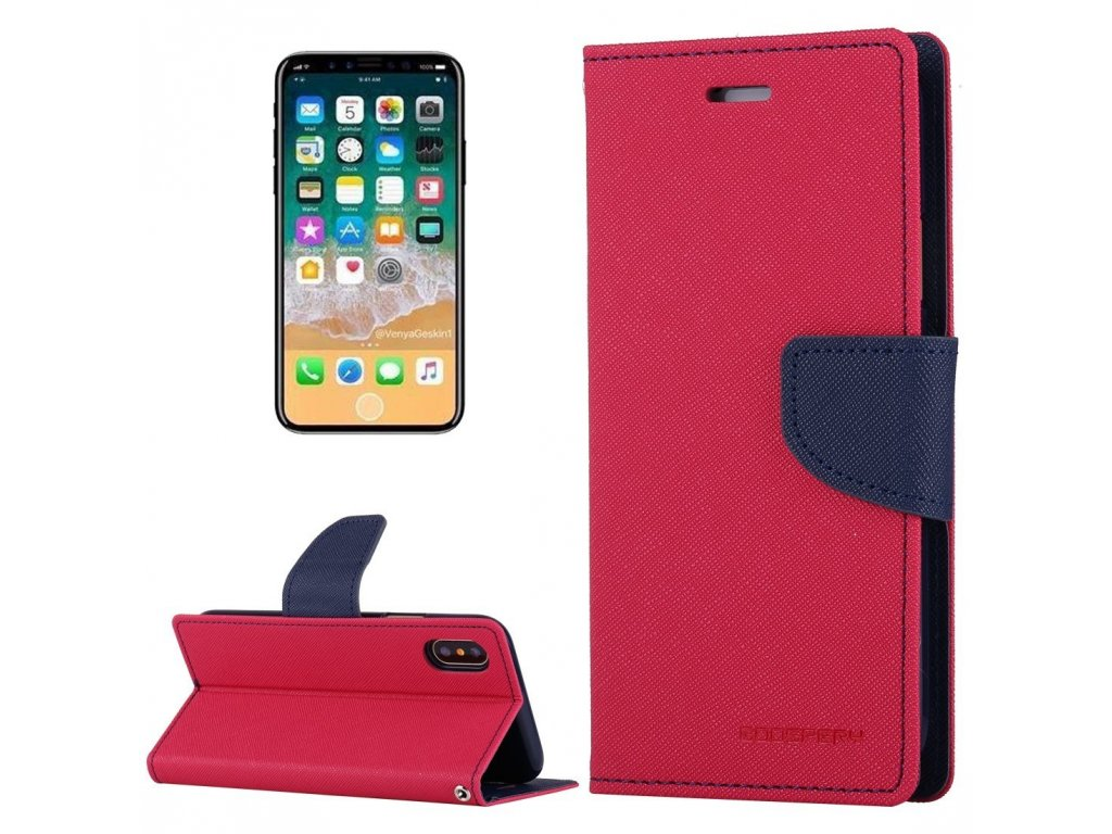 Pouzdro / kryt pro iPhone XS / X - Mercury, Fancy Diary HOTPINK/NAVY