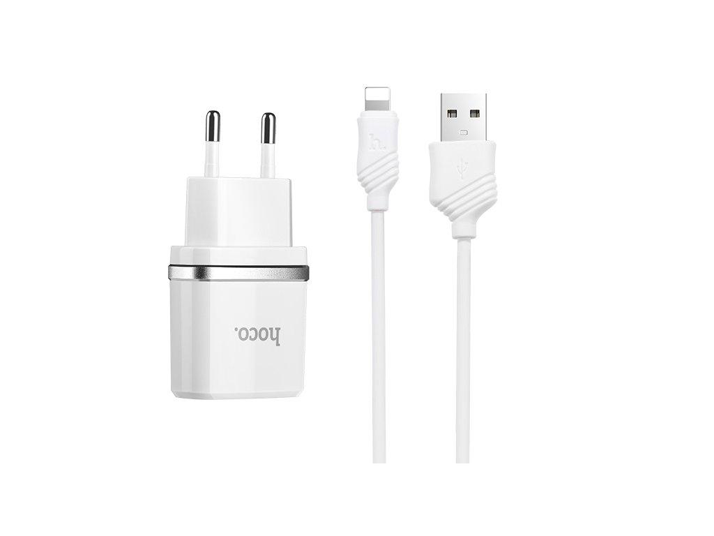 Nabíjecí AC adaptér pro iPhone a iPad - Hoco, C12 Dual 2.4A + kabel Lightning