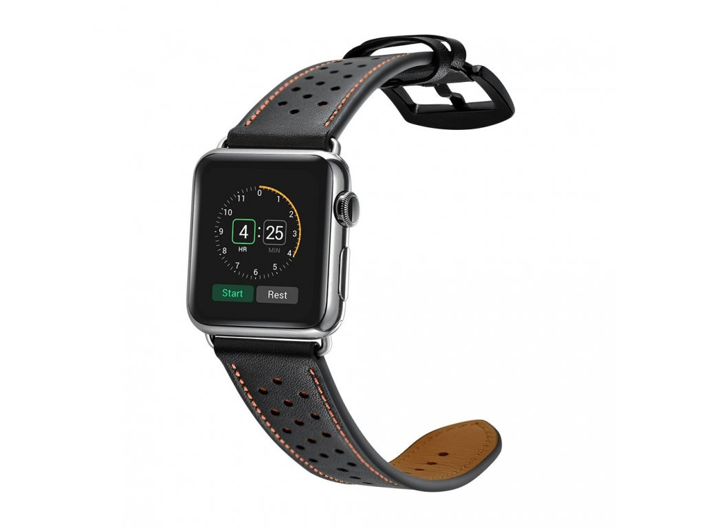 Kožený pásek / řemínek pro Apple Watch 42mm / 44mm - TECH-PROTECT, LEATHER BLACK