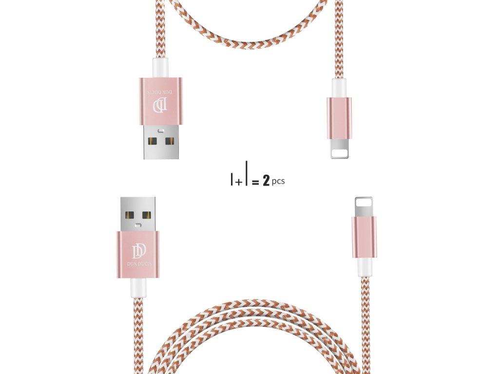 Kabel Lightning pro iPhone a iPad - DuxDucis, KII 2-PACK SET (100cm+20cm) Pink