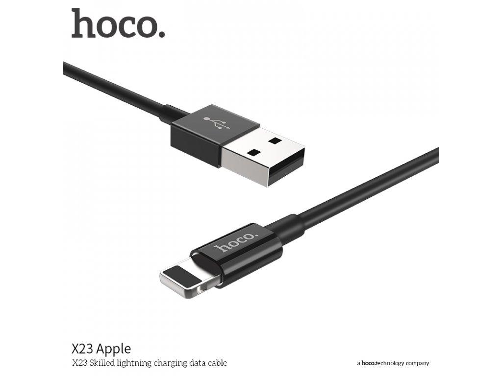 Kabel lightning pro iPhone a iPad - Hoco, X23 Skilled Black