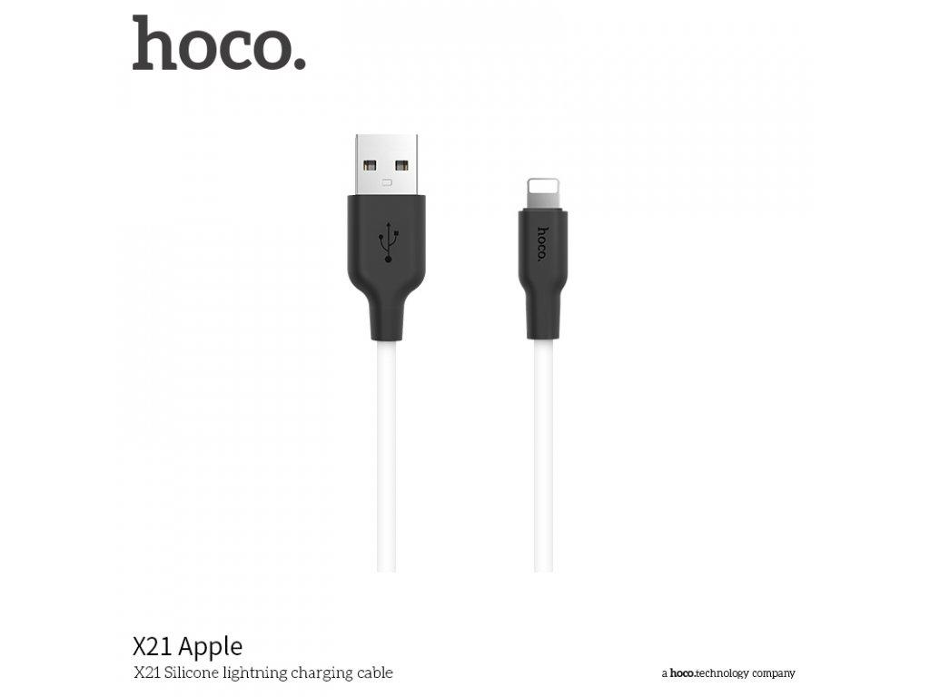 Kabel Lightning pro iPhone a iPad - Hoco, X21 Silicone Black/White