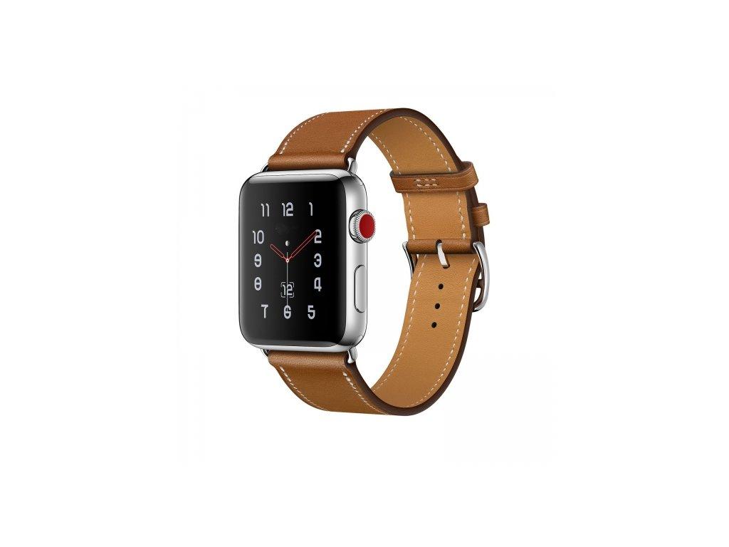 Kožený pásek / řemínek pro Apple Watch 42mm / 44mm - Tech-Protect, Herms Brown
