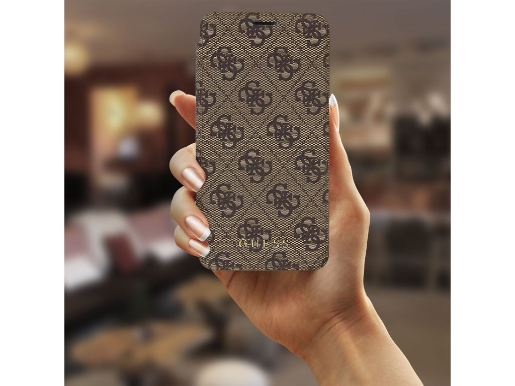 Pouzdro / kryt pro iPhone XS MAX - Guess, Charms 4G Book Brown