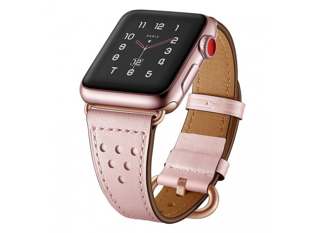 Kožený pásek / řemínek pro Apple Watch 38mm / 40mm - TECH-PROTECT, MILANO PINK
