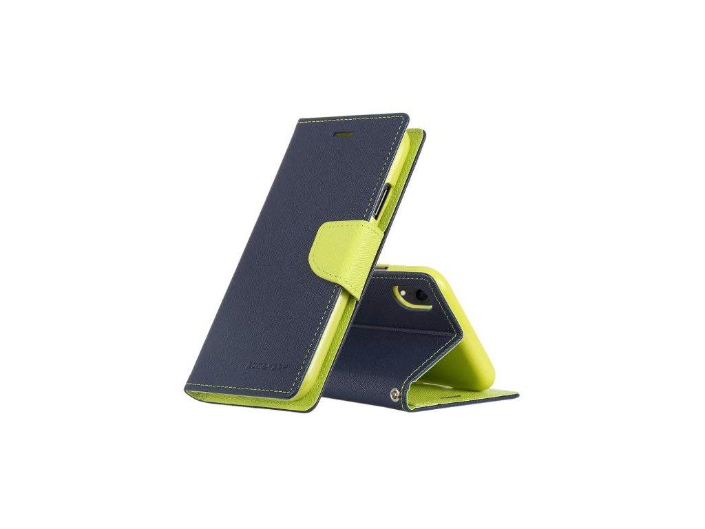 Pouzdro / kryt pro iPhone XR - Mercury, Fancy Diary Navy/Lime
