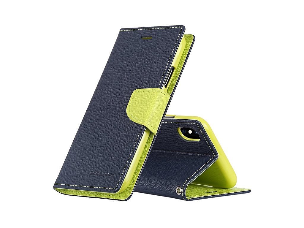 Pouzdro / kryt pro iPhone XS MAX - Mercury, Fancy Diary Navy/Lime