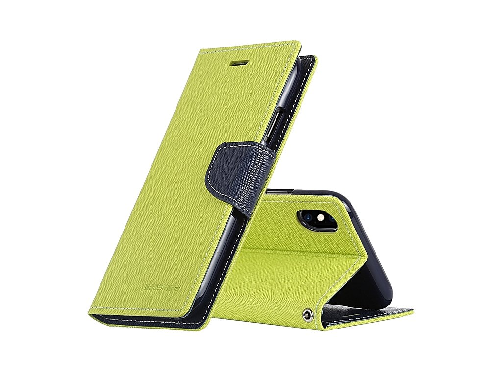 Pouzdro / kryt pro iPhone XS MAX - Mercury, Fancy Diary Lime/Navy