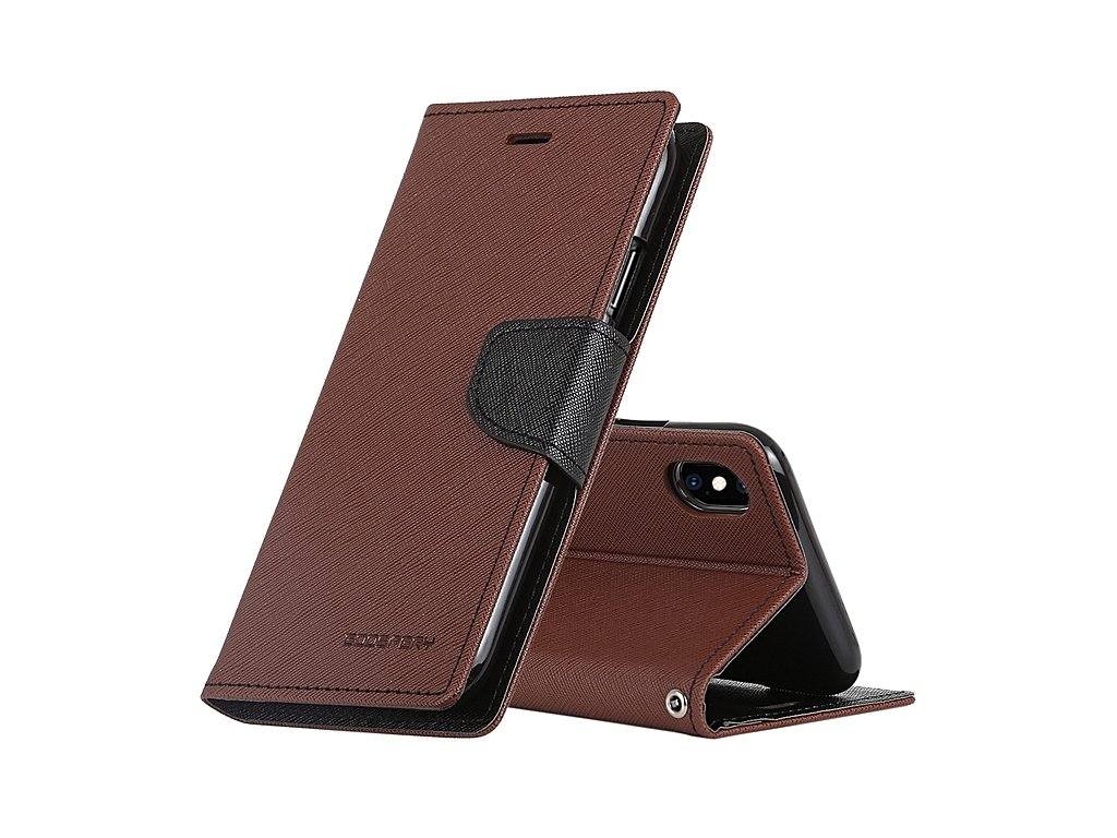 Pouzdro / kryt pro iPhone XS MAX - Mercury, Fancy Diary Brown/Black