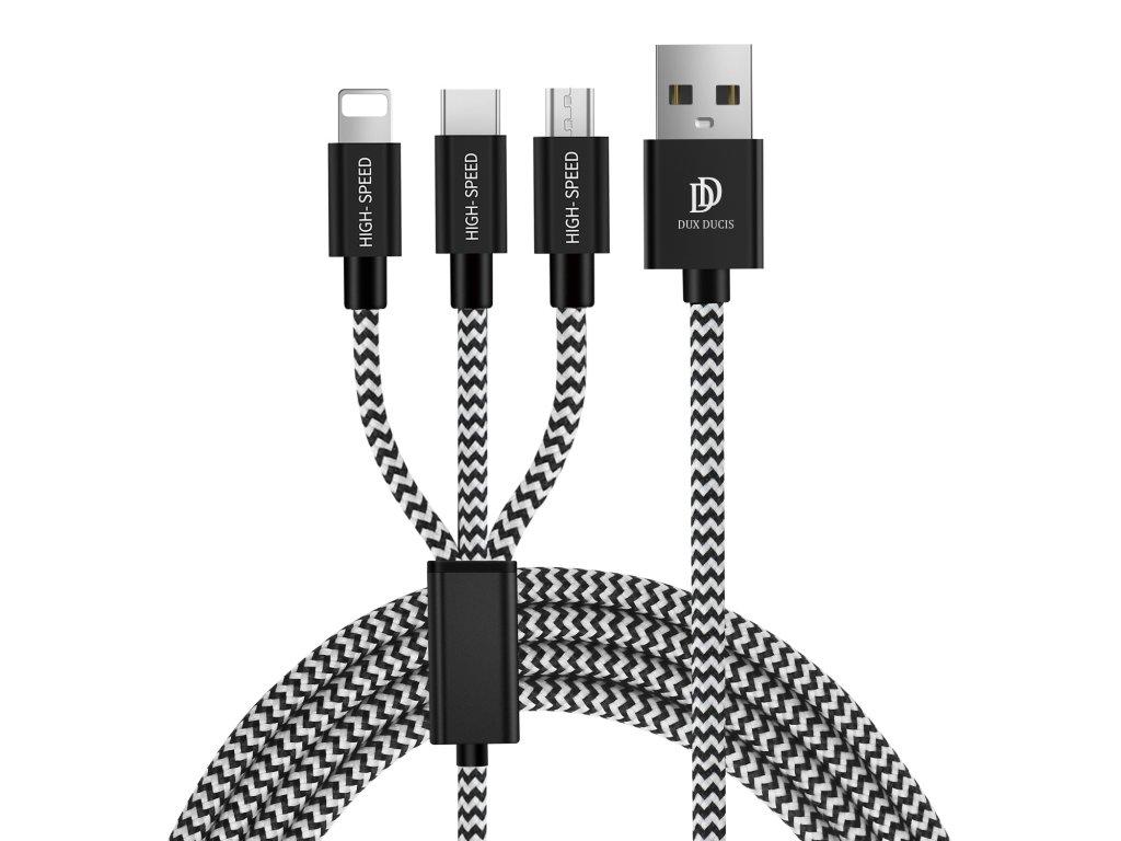 Kabel 3v1 - DuxDucis, K-ONE (Lightning+Micro+Type-C)
