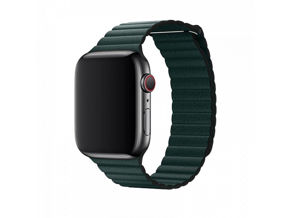 Řemínek pro Apple Watch 42mm / 44mm - Devia, LeatherLoop Forest Green