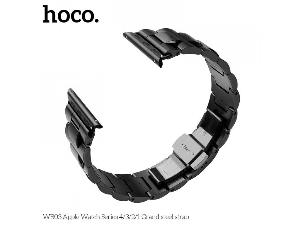 Kovový řemínek pro Apple Watch 42mm / 44mm - HOCO, WB03 Grand Black