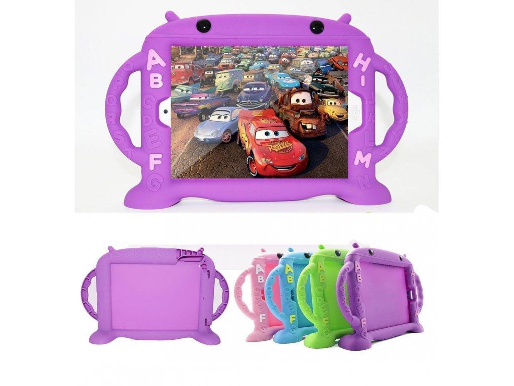Dětské pouzdro pro iPad Air 1 / Air 2 / 2017 / 2018 - Cartoon Monkey, Purple