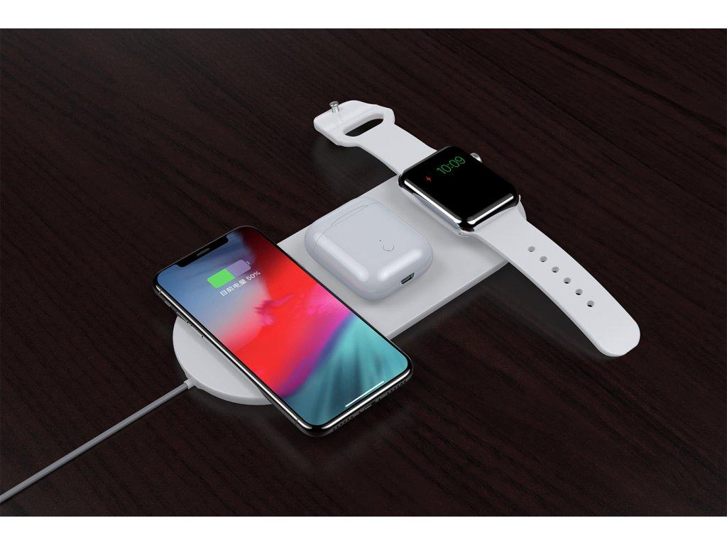 Bezdrátová rychlá nabíječka pro iPhone, Apple Watch a AirPods - Devia, Wireless 3in1 Charger (V2)