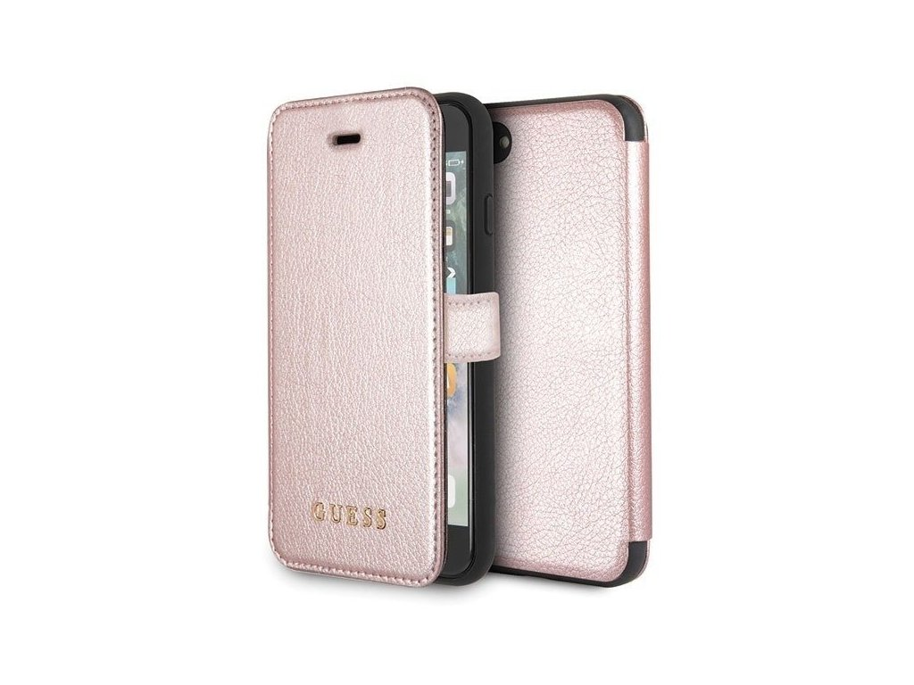 Pouzdro / kryt pro iPhone 8 / 7 / 6s / 6 - Guess, IriDescent Book RoseGold