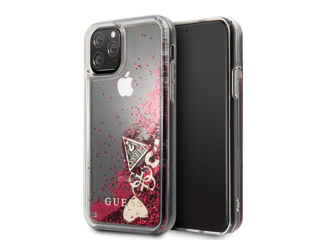 Ochranný kryt na iPhone 11 Pro - Guess, Glitter Hearts Rapsberry