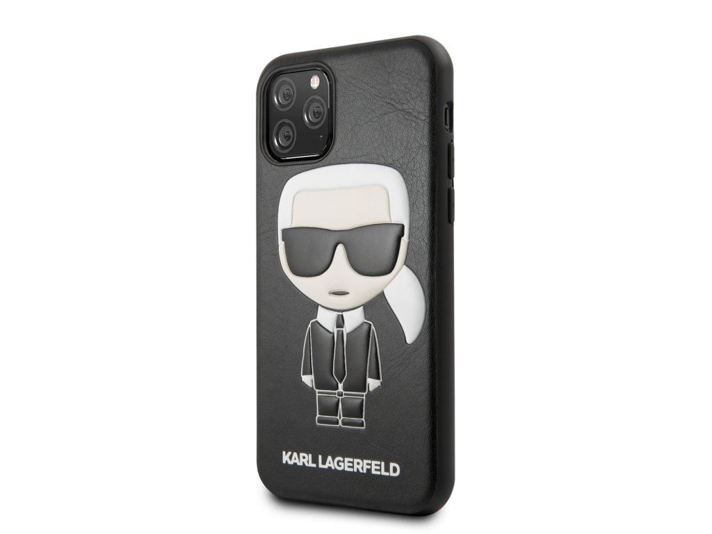 Ochranný kryt na iPhone 11 Pro - Karl Lagerfeld, Embossed Cover Black