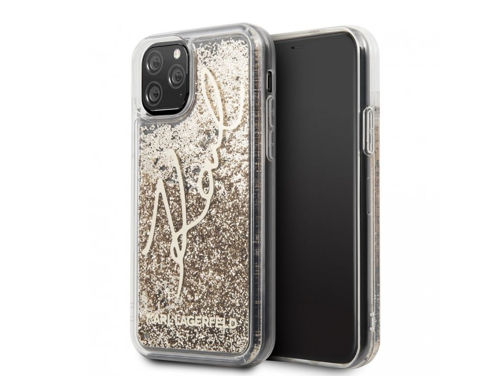Ochranný kryt na iPhone 11 - Karl Lagerfeld, Glitter Signature Gold