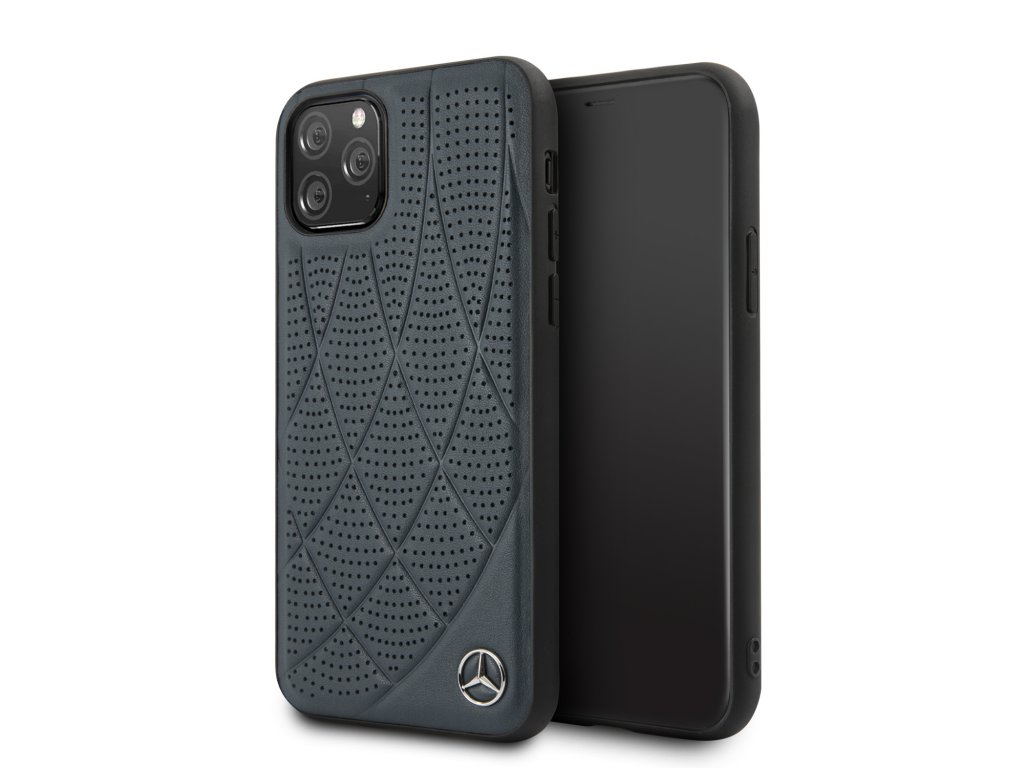 Ochranný kryt na iPhone 11 Pro - Mercedes, Leather Cover Blue
