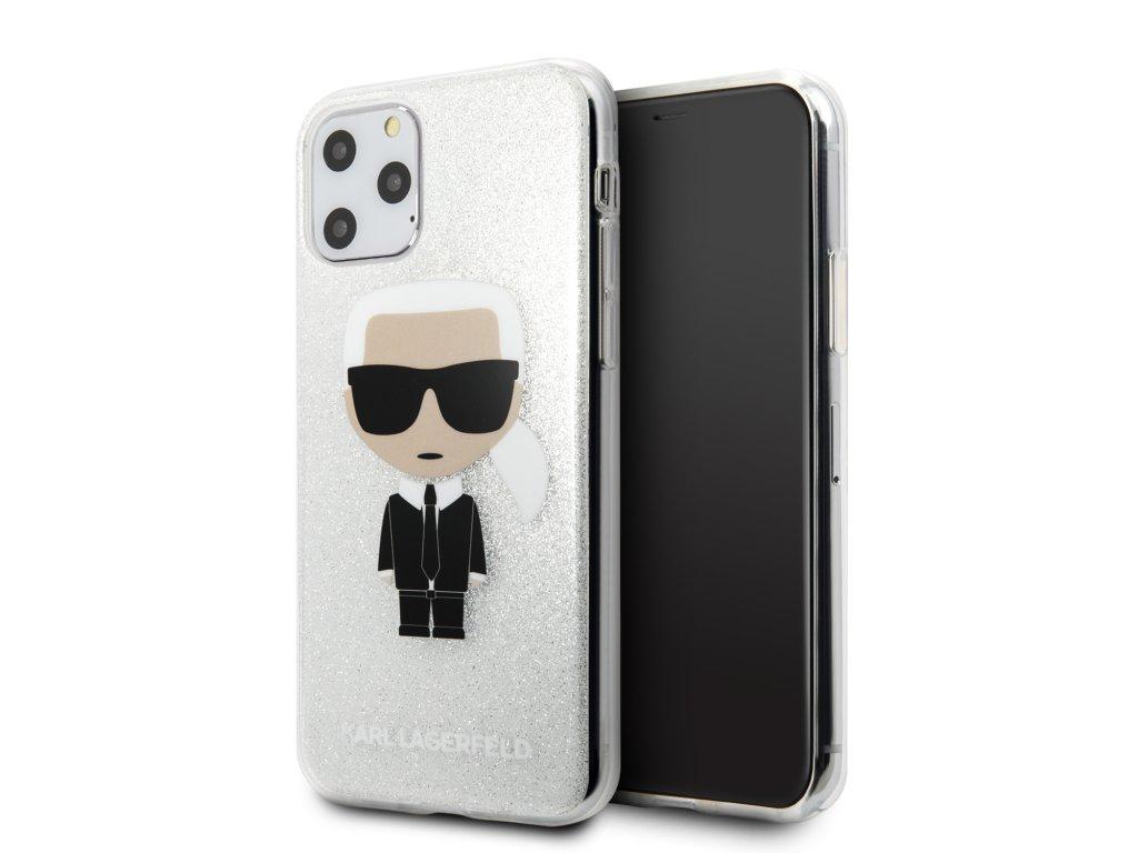 Ochranný kryt na iPhone 11 Pro - Karl Lagerfeld, Glitter Iconic Silver