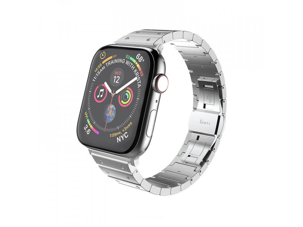 Kovový řemínek pro Apple Watch 42mm / 44mm - Hoco, WB07 Precious Silver