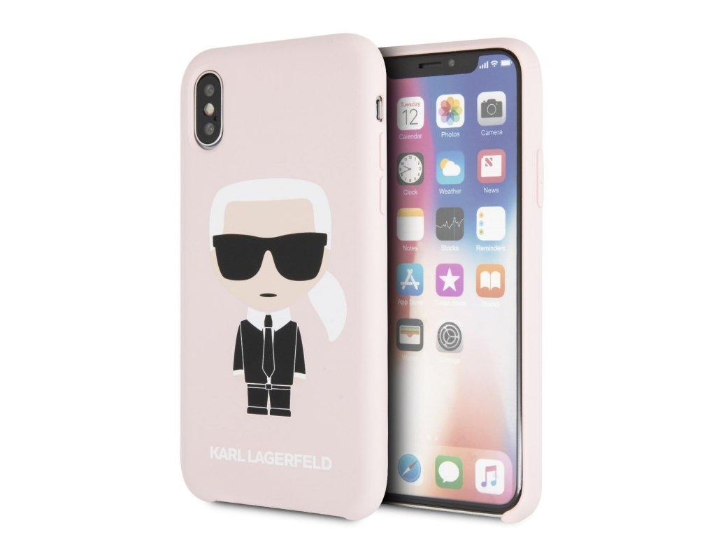 Ochranný kryt pro iPhone XS / X - Karl Lagerfeld, Silicone Iconic Pink