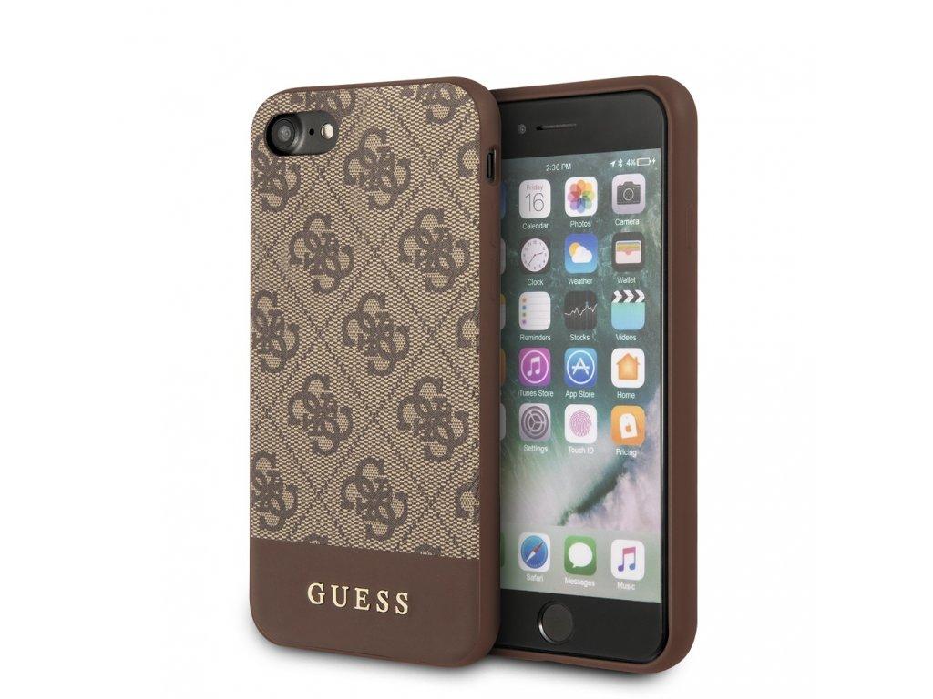 Ochranný kryt pro iPhone 7 / 8 / SE (2020) - Guess, 4G Stripe Back Brown