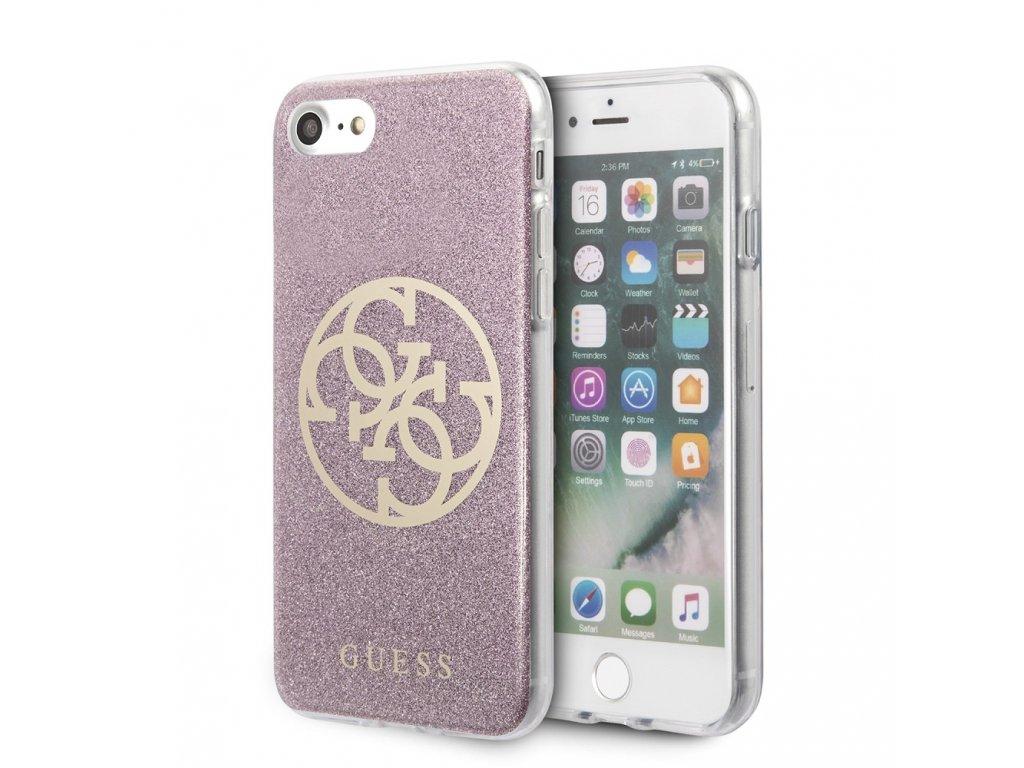 Ochranný kryt pro iPhone 7 / 8 / SE (2020) - Guess, Glitter 4G Circle Pink