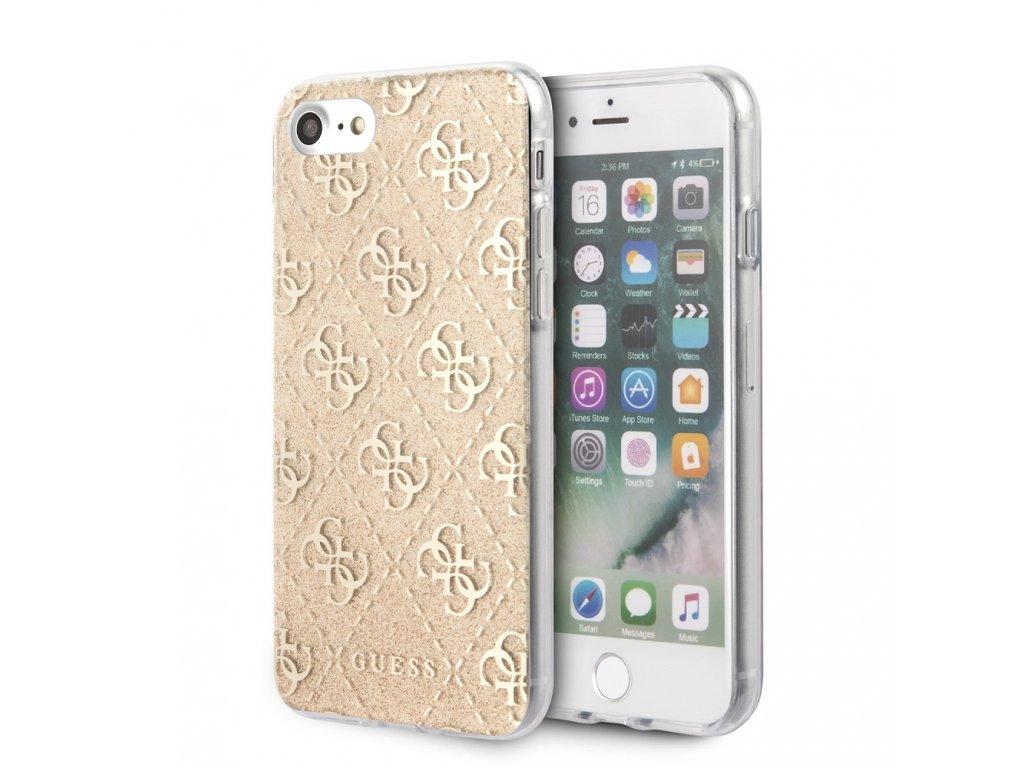 Ochranný kryt pro iPhone 7 / 8 / SE (2020) - Guess, Glitter 4G Peony Gold