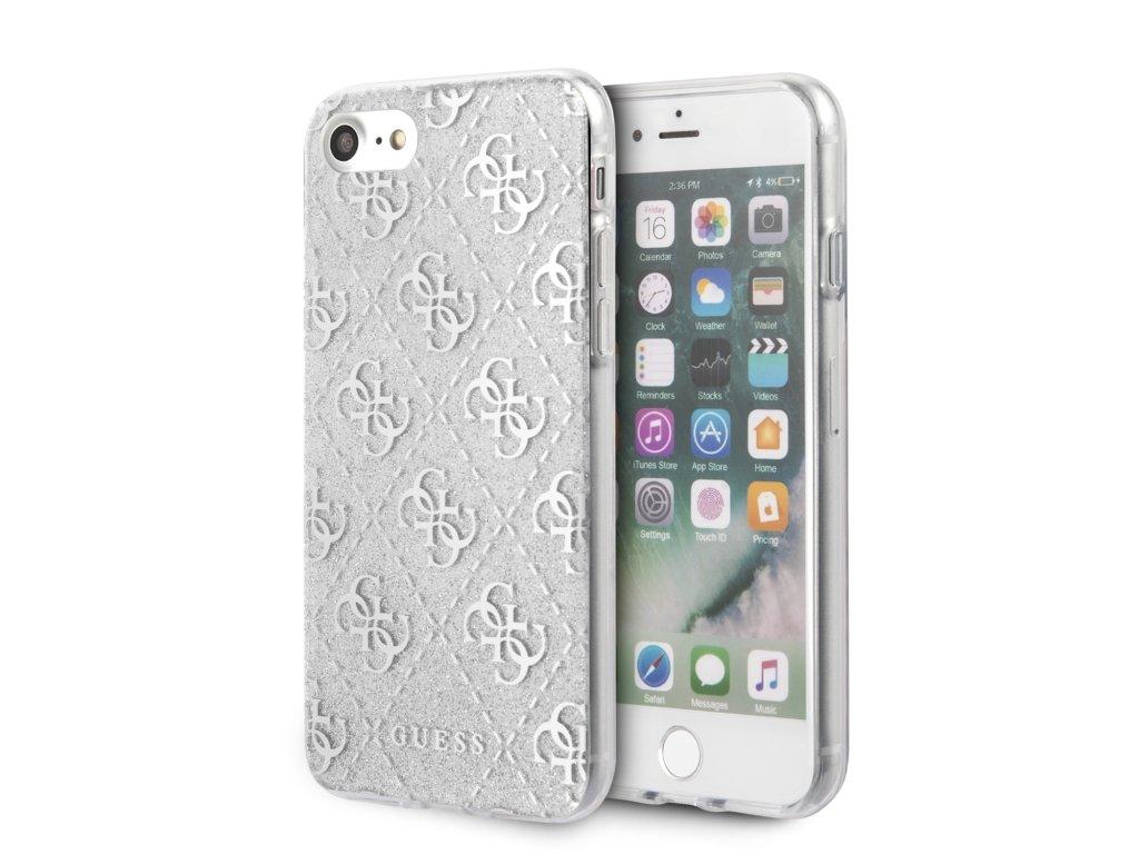 Ochranný kryt pro iPhone 7 / 8 / SE (2020) - Guess, Glitter 4G Peony Silver
