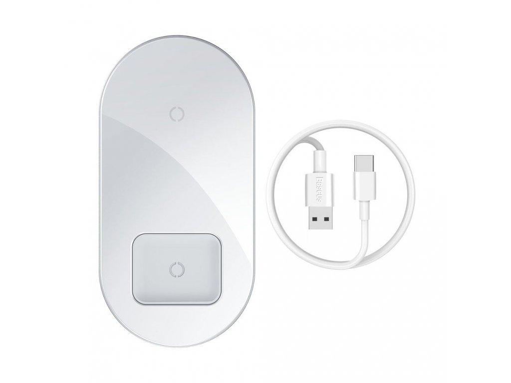 Bezdrátová rychlá nabíječka pro iPhone a AirPods - Baseus, Simple 2in1 White
