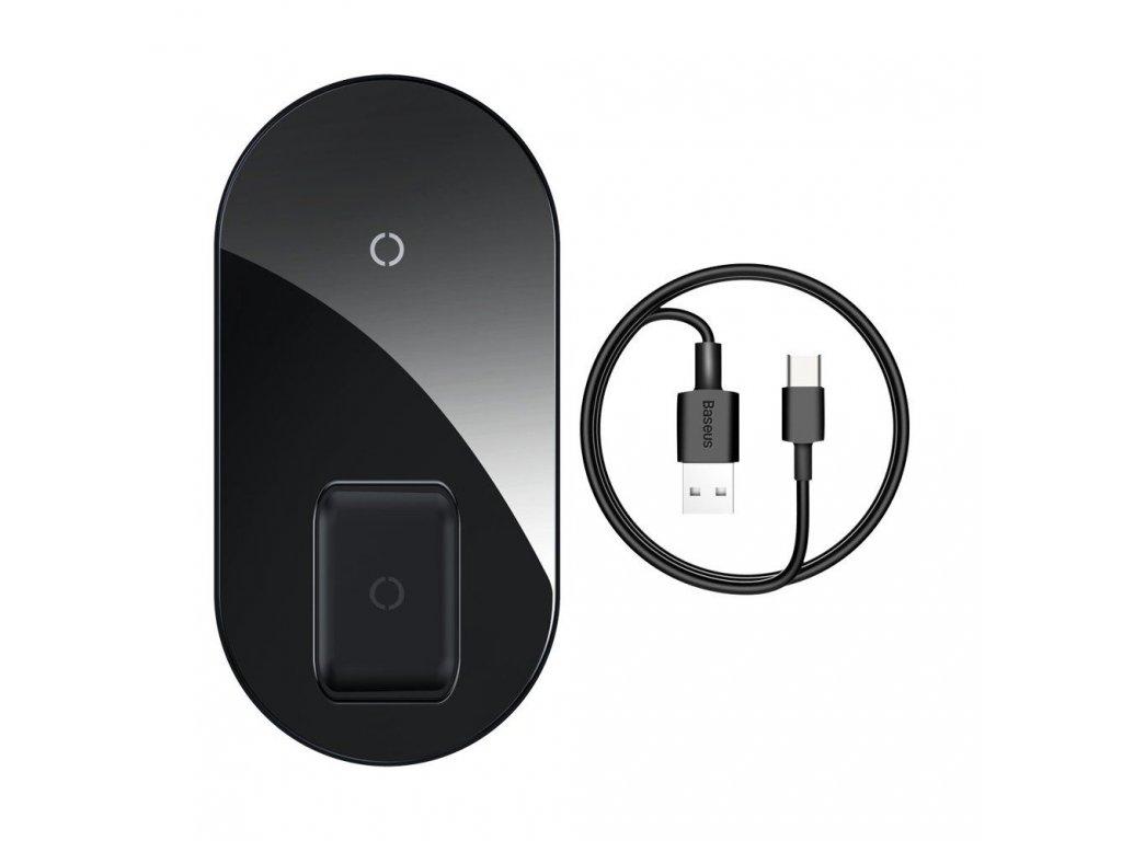 Bezdrátová rychlá nabíječka pro iPhone a AirPods - Baseus, Simple 2in1 Black