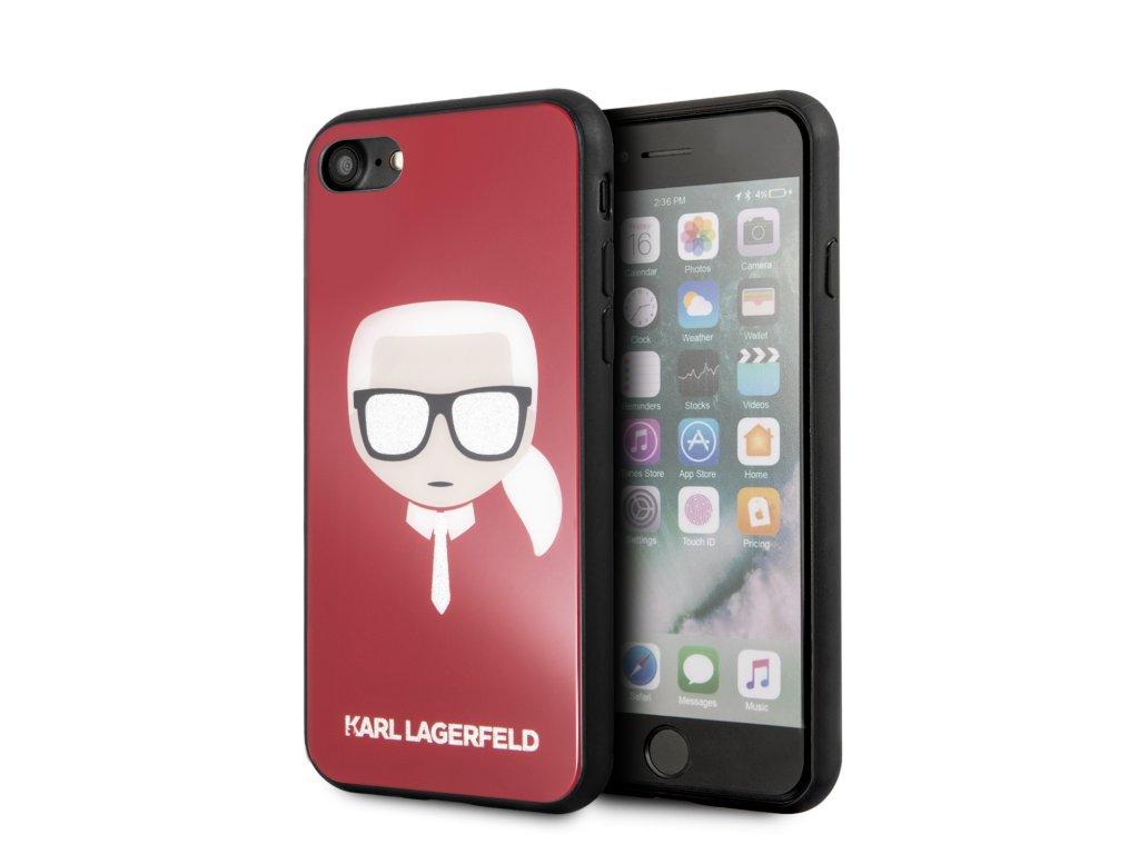 Kryt pro iPhone 7 / 8 / SE (2020) - Karl Lagerfeld, Head Glitter Red