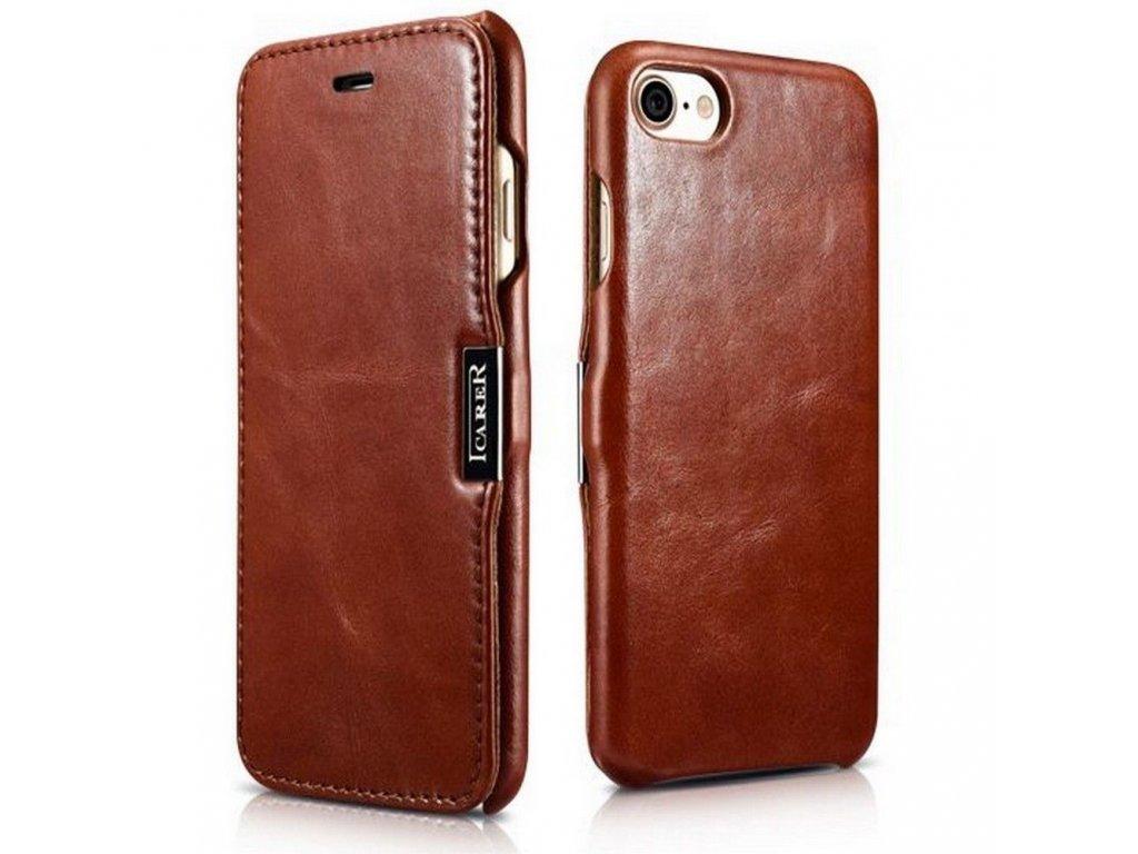 Knížkové pouzdro pro iPhone 7 / 8 / SE (2020) - iCarer, Vintage Brown